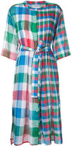 Tsumori Chisato checked pleated bib dress - women - Cotton - S