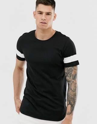 Jack and Jones Core logo over sized taped sleeve t-shirt in black