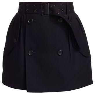 Junya Watanabe Belted Stretch-Wool Mini Skirt