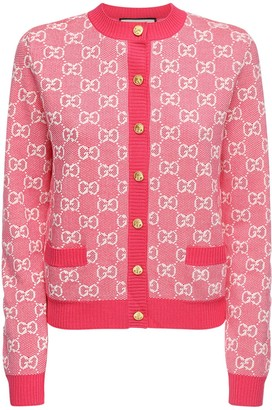 Gucci Gg Jacquard Knit Wool & Cotton Cardigan