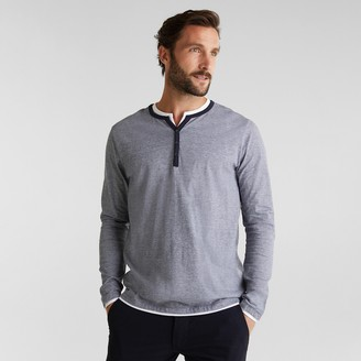 Esprit Organic Cotton T-Shirt with Grandad-Collar and Long Sleeves
