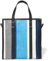 Balenciaga Bazar Small Striped Textured-leather Tote