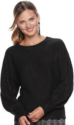 Elle Women's Pointelle Puff Sleeve Sweater