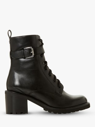 Dune Platon Leather Buckle Detail Block Heel Ankle Boots, Black