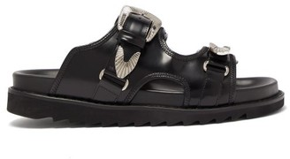 Toga Virilis Western Buckle Strap Leather Slides - Mens - Black