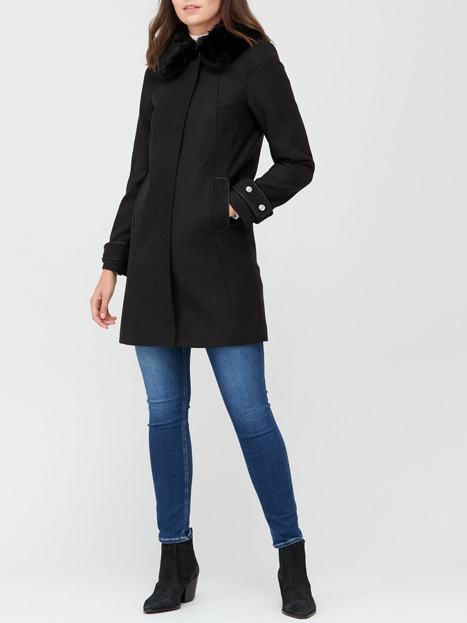 Thumbnail for your product : Very Zip Coat With Faux Fur Collar - Black