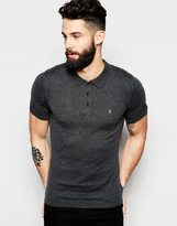 Farah Knitted Polo With Long Sleeves - Grey