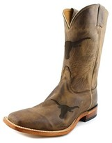 Nocona Texas Brown Cowhide Branded Men Square Toe Leather Western Boot.