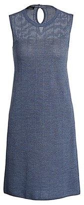 Akris Sheer Horizontal Stripe Wool & Silk Sleeveless Dress