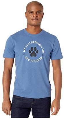Life is Good Rescue Bones Crusher Tee (Heather Vintage Blue) Men's Clothing