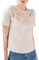 Topshop Women's Ruffle Mesh Detail Tee