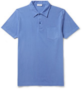 Sunspel Riviera Slim-fit Cotton-mesh Polo Shirt - Blue