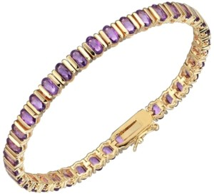 PRIME ART & JEWEL 18K Gold Over Sterling Silver Purple Amethyst Tennis Bracelet