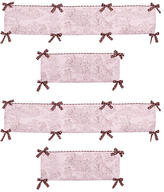 JoJo Designs Sweet Pink and Brown Toile Collection Crib Bumper
