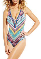 Jantzen Rio Breeze Plunge Scoop Back Tummy Control One-Piece