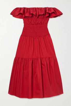 Self-Portrait Off-the-shoulder Shirred Ruffled Cotton-poplin Midi Dress - UK8