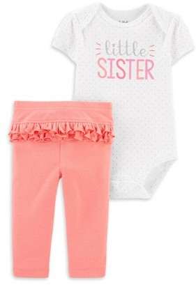Child of Mine by Carter's Baby Girl Little Sister Short Sleeve Bodysuit & Pant Outfit, 2pc Set