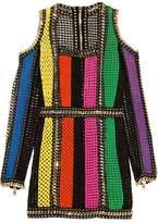 Balmain Cold-Shoulder Embellieshed Crochet-Knit Mini Dress