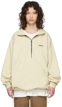 Essentials Off-White Polar Fleece Half-Zip Pullover