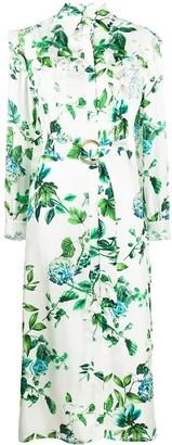 Blumarine floral print silk shirt dress