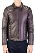 Prada Men's Motorcycle Soft Quilted Leather Zip Jacket Coat Dark Grey Black.