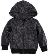 Bardot Junior Boys' Hoodie Jacket with Faux-Leather Sleeves - Baby