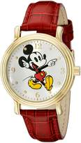 Disney Women's W001870 Mickey Mouse Gold-Tone Watch with Faux Leather Band