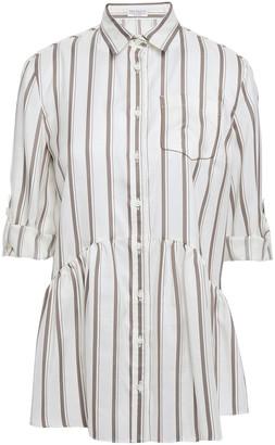 Brunello Cucinelli Bead-embellished Striped Silk-jacquard Peplum Shirt
