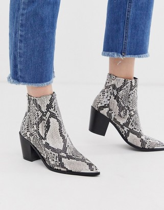 Head Over Heels Pomona natural snake effect mid heeled ankle boots with metal toe cap