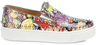 Christian Louboutin Super Pik Spike Graphic Leather Sneakers