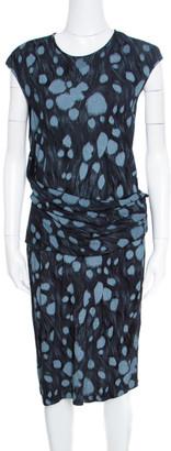 Armani Collezioni Black Printed Jersey Draped Waist Detail Sleeveless Dress XL