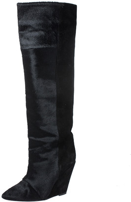 Isabel Marant Black Calfhair Knee Length Wedge Boots Size 38
