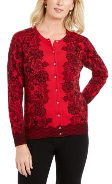 Karen Scott Petite Lace Trails Cardigan, Created For Macy's