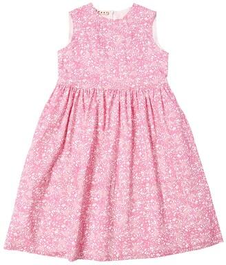 Marni Junior Flower Print Cotton Blend Dress