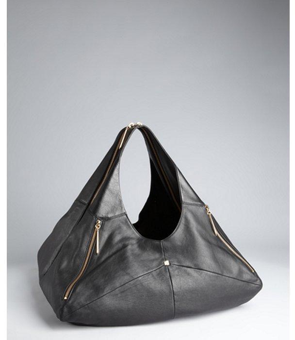 Pour La Victoire black leather 'Nouveau' zip hobo