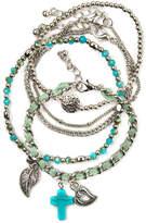 Arizona Aqua Stone 5-pc. Silver-Tone Bracelet Set