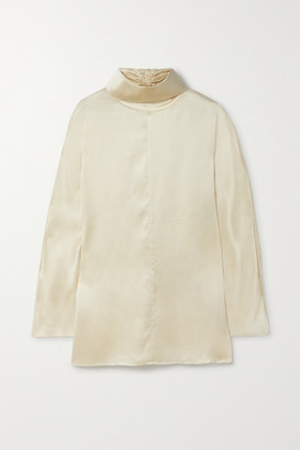 Co Silk-satin Turtleneck Blouse - Cream