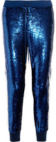 Ashish Lace-trimmed Sequined Silk-georgette Track Pants - Royal blue