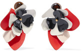 Marni Leather, Steel And Horn Clip Earrings - Coral