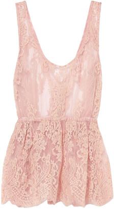 Rosamosario Scalloped Lace Peplum Pajama Top