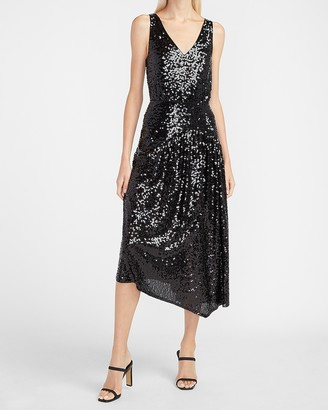 Express Sequin V-Neck Midi Dress