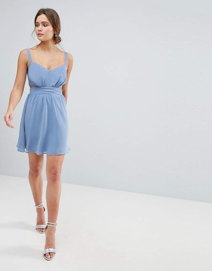 Asos Design Side Cut Out Mini Dress with Cami Straps