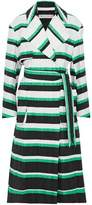 Emilio Pucci Striped Crinkled Cotton-Blend Trench Coat
