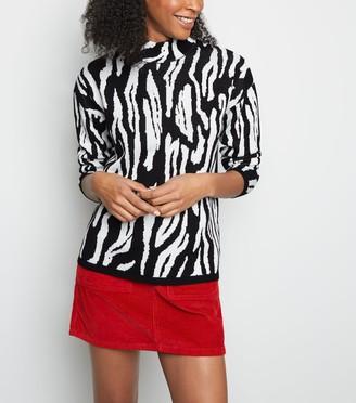 New Look Cameo Rose Zebra Print High Neck Jumper