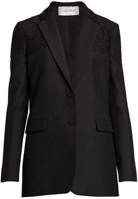 Valentino Heavy Crepe Lace-Applique Jacket