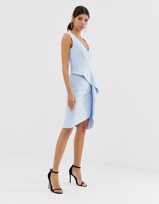 City Goddess 3/4 flute sleeve midi dress with peplum ruffle detail