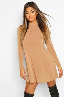 boohoo Soft Knit Turtle Neck Long Sleeve Swing Dress
