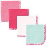 Hudson Baby Pink & Mint Lattice Washcloth Set
