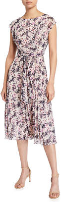 Maggy London Faux-Wrap Pleated Dress