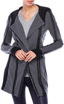 Blanc Noir Charcoal Hooded Mixed Media Jacket
